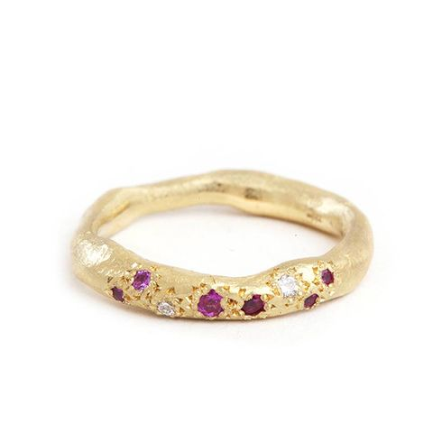 Katherine Bowman Yellow Gold Hera Ring With Multicolor Sapphires and Diamonds