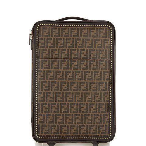 Printed Faux Textured-Leather Travel Trolly