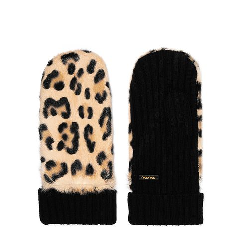 Leopard-Print Calf Hair and Cashmere Mittens