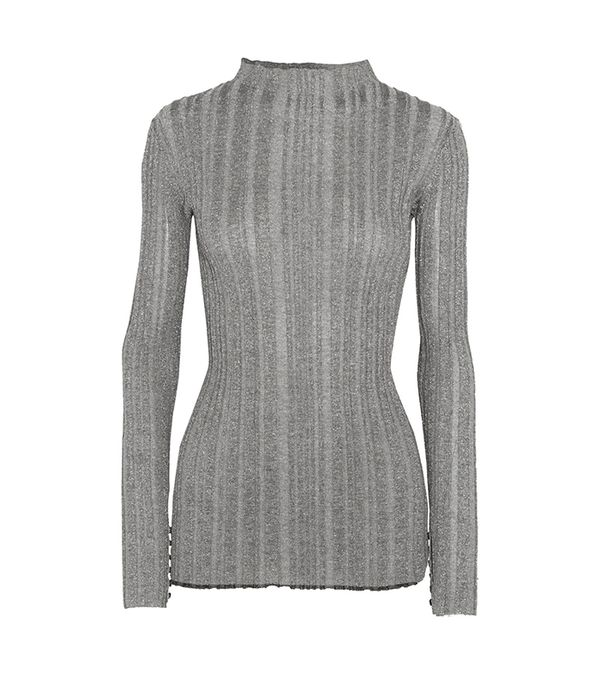 Metallic Ribbed-knit Sweater