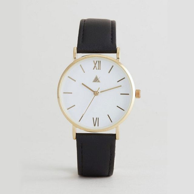 ASOS CURVE Classic Black Leather Watch