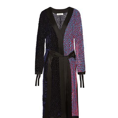 Satin-Trimmed Flocked Chiffon Midi Dress