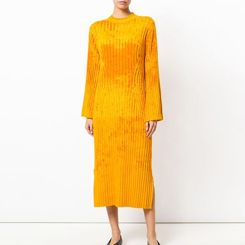 Textured Ribbed-Knit Dress