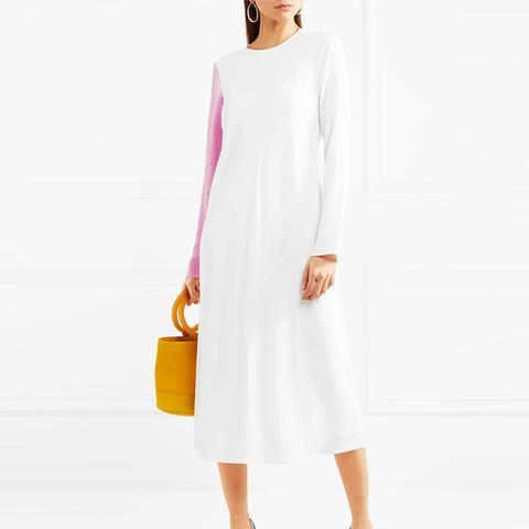 Two-Tone Silk-Satin And Crepe Midi Dress