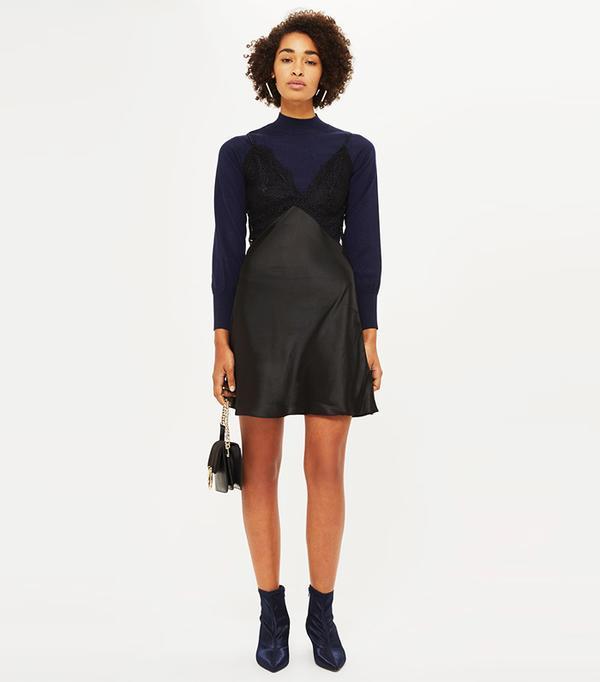 Lace Slip Hybrid Knitted Jumper