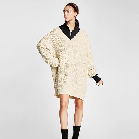 Cable-Knit V-Neck Sweater