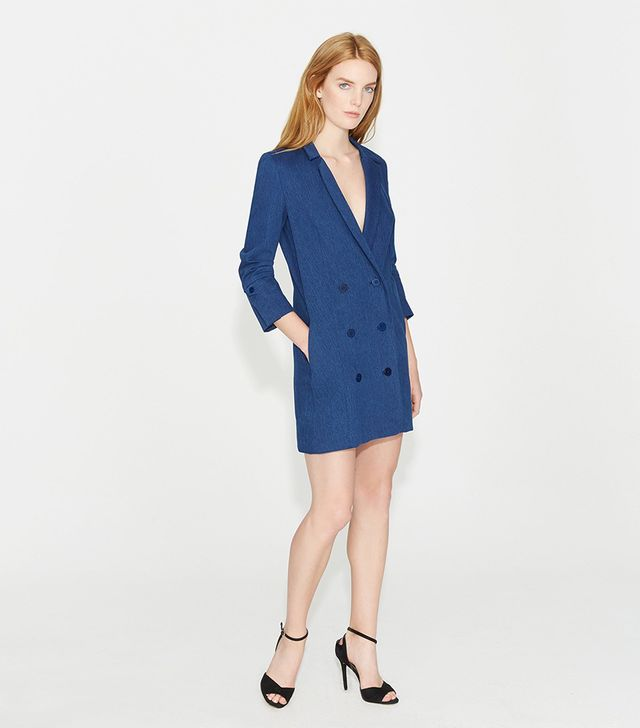 Halston Heritage Double Breasted Denim Shirtdress