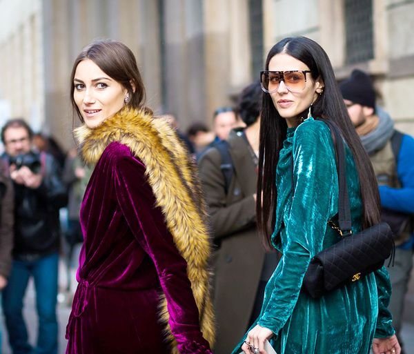 Go on—match your BFF in similar looks that complement one another. We're forever in love with the stylish duo behind The Attico and think their velvet wrap dresses are perfect for a...