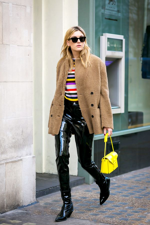 Been wanting to try out ultra-cool vinyl pants but not sure how to pull them off appropriately? We love how cozy fall pieces like a teddy jacket and striped sweater bring the pants into the everyday.