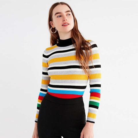 Multi-Stripe Mock-Neck Sweater