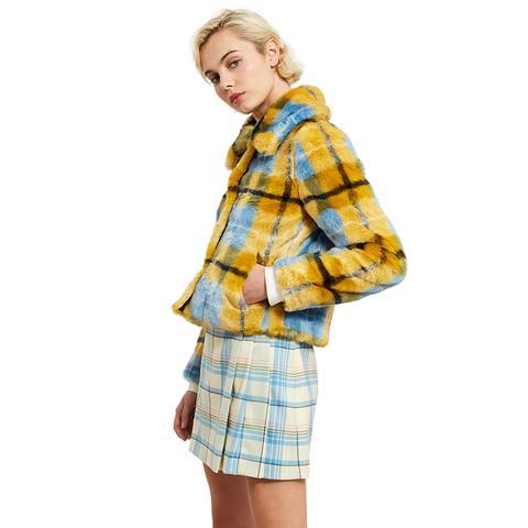 Plaid Faux Fur Coat