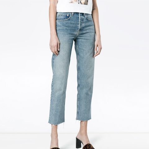 Stove Pipe 27 Cropped High Waist Jeans