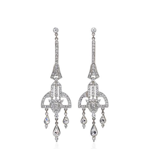 Antique Silver Crystal Deco Earrings