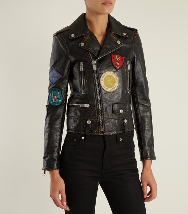 Embroidered shrunken-fit leather biker jacket
