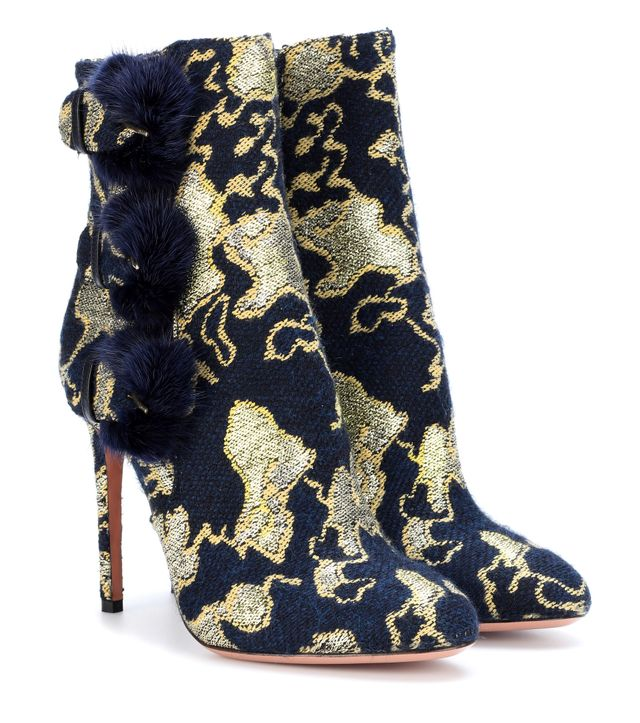 Exclusive to mytheresa.com – Sinatra 105 fur-trimmed brocade ankle boots