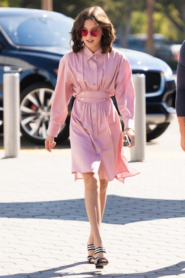 On Millie Bobby Brown: Sies Marjan dress; Alumnae shoes; Gentle Monster sunglasses