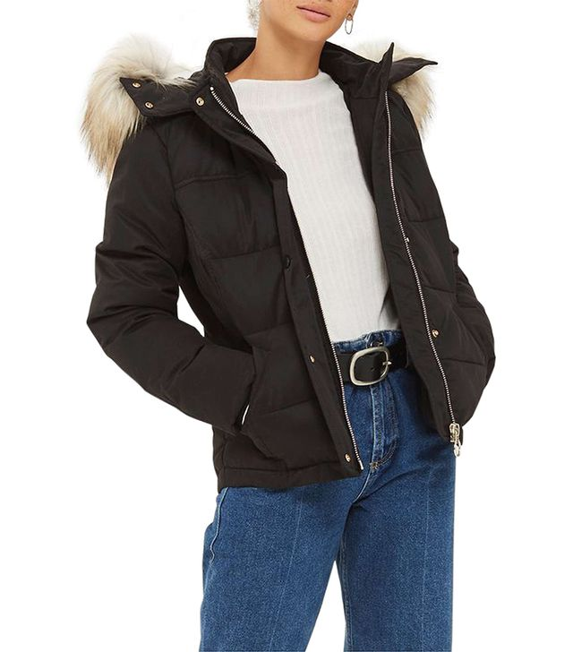 Topshop Jerry Faux Fur Trim Puffer Jacket