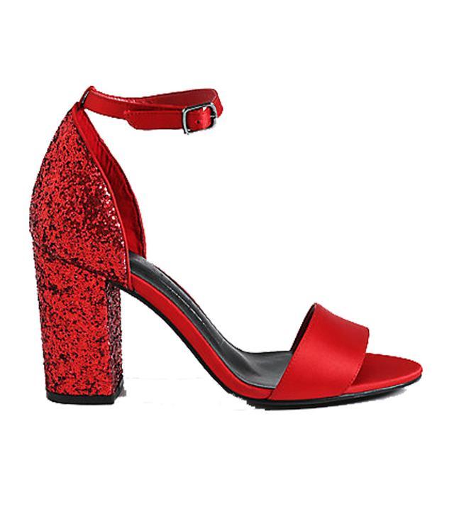 M&S Two Part Block Heel Sparkle Sandals
