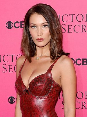 Bella Hadid Wore a Daring Latex Dress to the VS Viewing Party