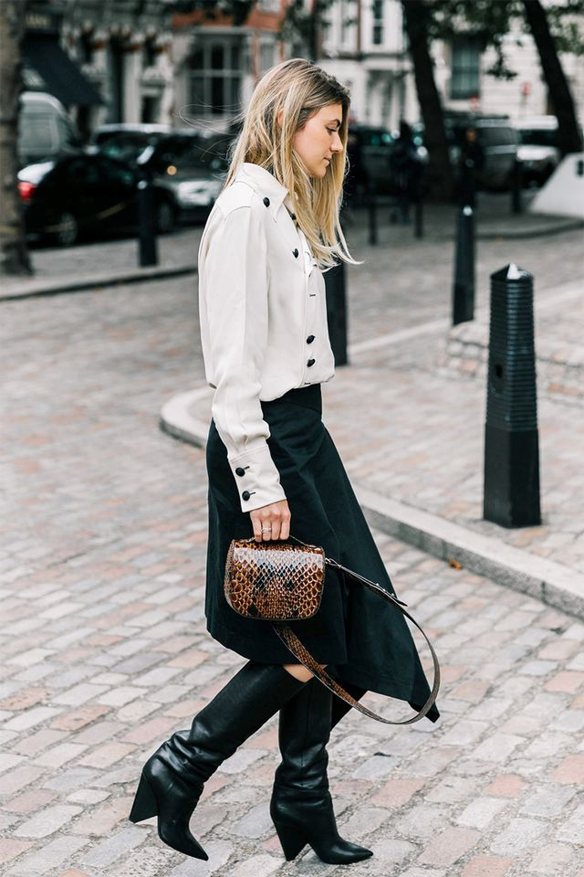 London Fashion Week Street Style Slouch Boots