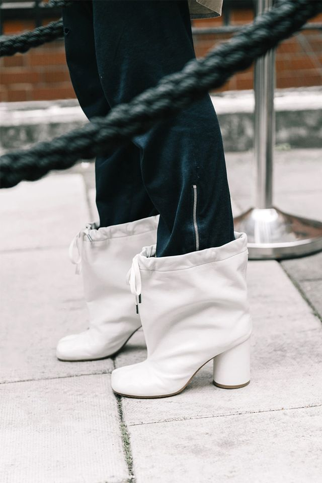 London Fashion Week SS18 Street Style White Boots