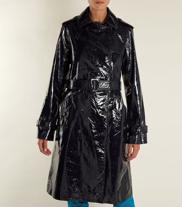 Diane von Furstenberg Double-Breasted Patent-Leather Trench Coat