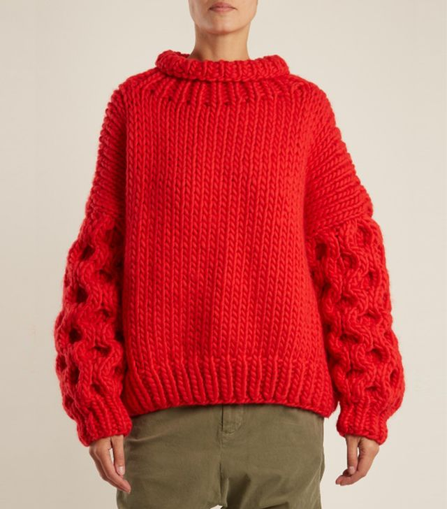 I Love Mr. Mittens Honey Roll-Neck Wool Sweater