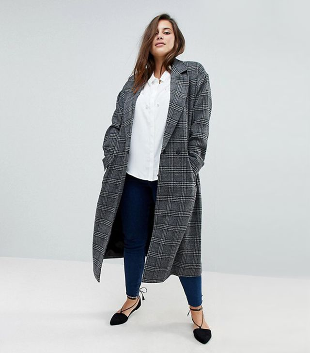 Unique 21 Hero Longline Coat in Heritage Check