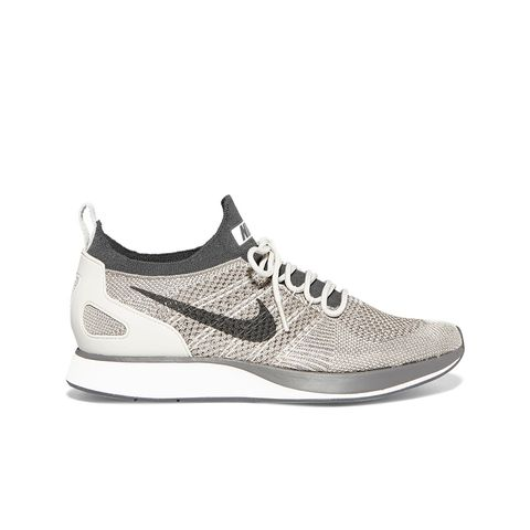 Air Zoom Mariah Leather-Trimmed Metallic Flyknit Sneakers