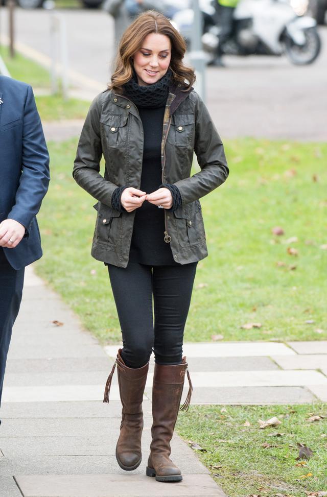 On Kate Middleton: Barbour jacket;Penelope Chilvers Long Tassel Boots($611)