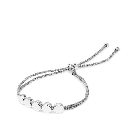 Linear Bead Sterling Silver and Woven Bracelet