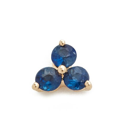Blue Sapphire Trio Single Stud Earring