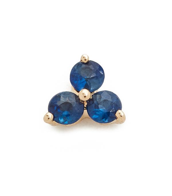Blue Sapphire Trio Single Stud Earring