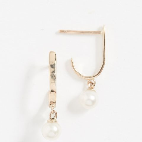 14K Gold Curved Freshwater Cultured Pearl Bar Studs