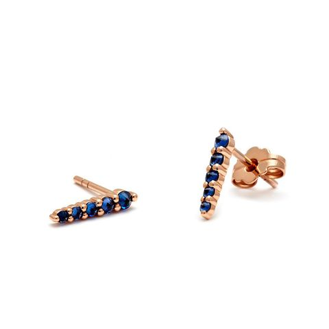 Pavé Pointe Stud Earrings (Medium) in Rose Gold & Blue Sapphire