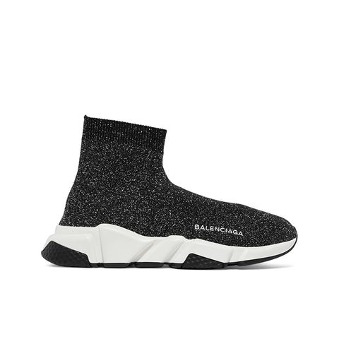 Speed Metallic Stretch-Knit High-Top Sneakers