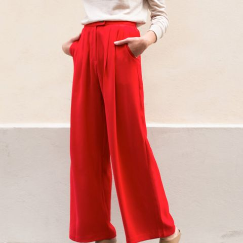 Bright Red Pleated Front Pants