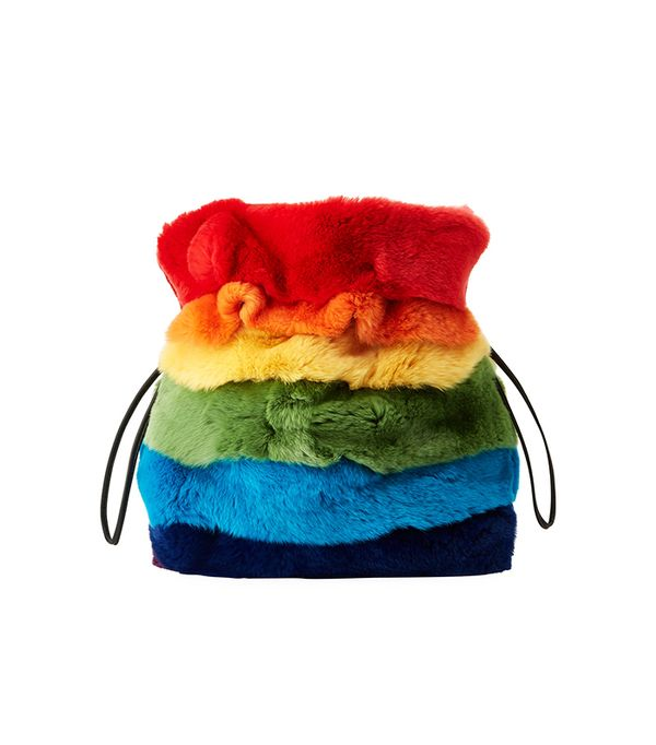Trilly Rainbow Fur Bucket Bag