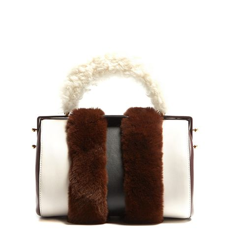Duffle Tag Fur-Trimmed Leather Bag