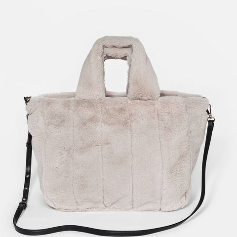 Faux Fur Top Handle Handbag