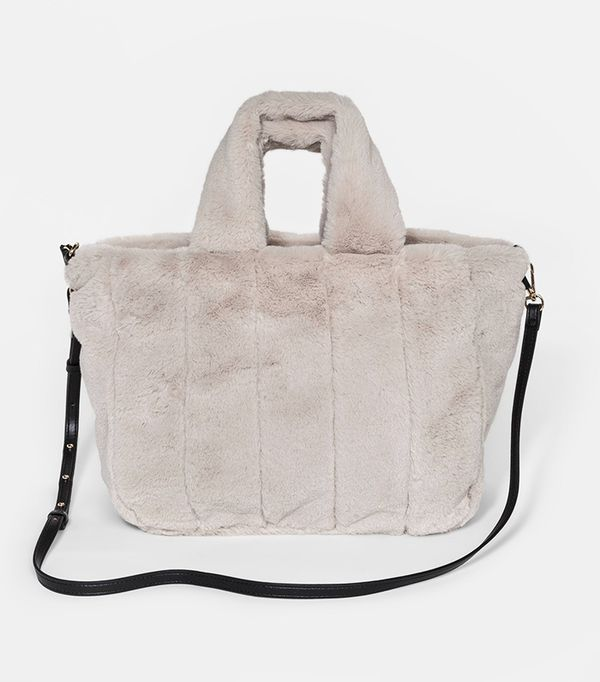 Women's Faux Fur Top Handle Handbag - Who What Wear™ Cream