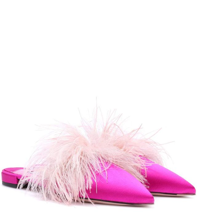 Prada Feather-Trimmed Satin Slippers