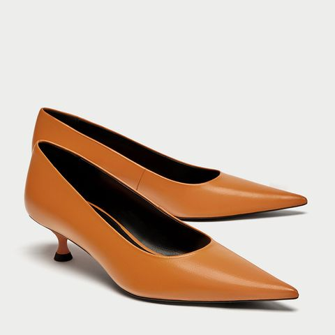 Leather Pointed Court Shoes