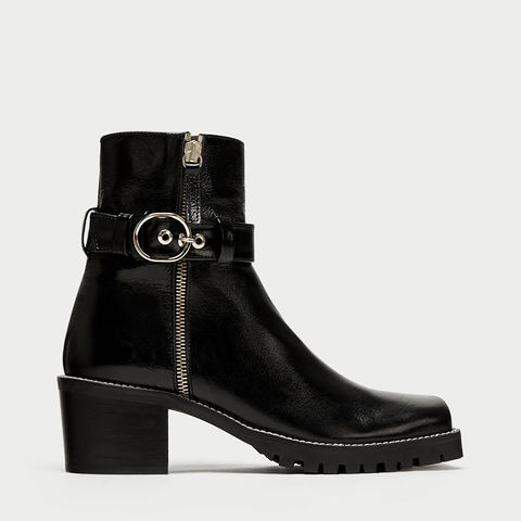 Leather Biker Ankle Boots With Squared Toes