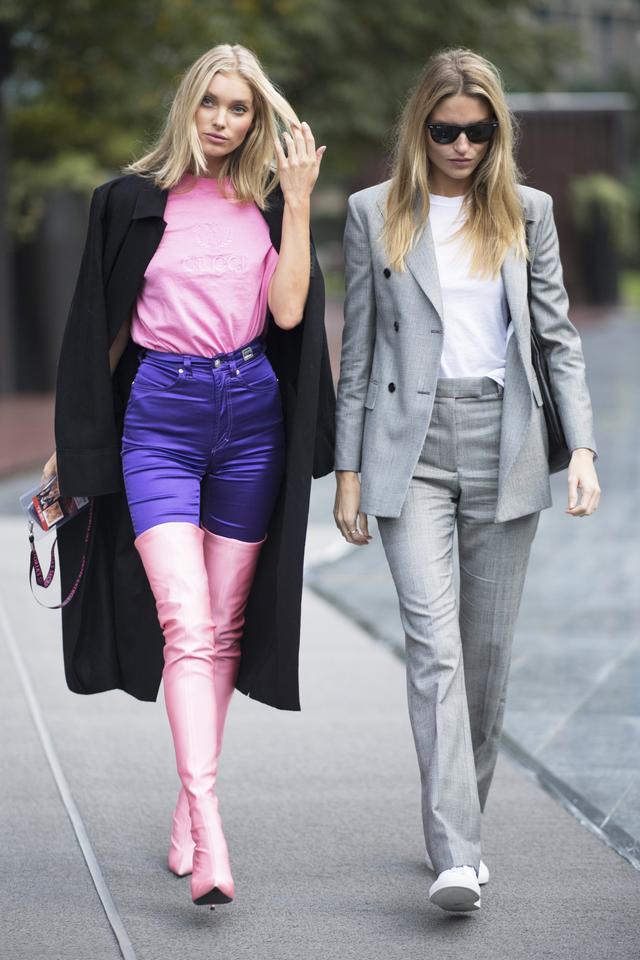 On Elsa Hosk: Gucci shirt; Versace pants; BalenciagaKnife Over-the-KneeBoots ($839)