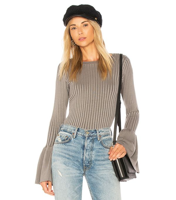 Coconut Grove Bell Sleeve Sweater in Gray. - size S (also in M,XS)