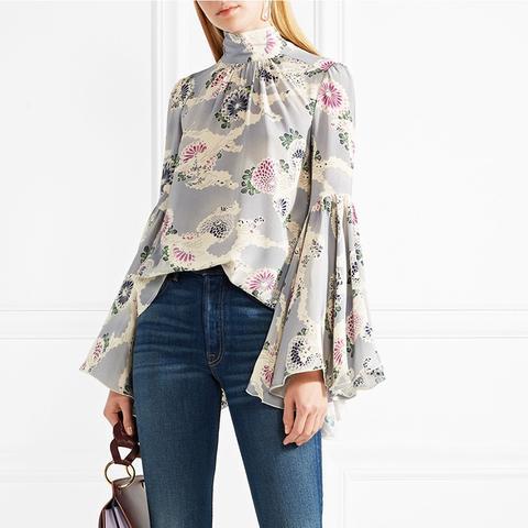 Floral-Print Silk Crepe de Chine Top