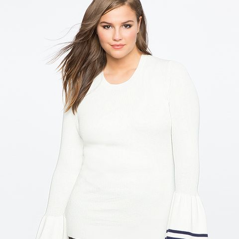 Bell Sleeve Sweater With Trim