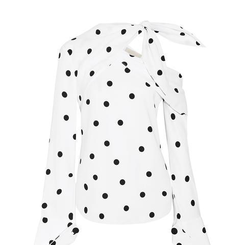Off-the-Shoulder Polka-Dot Silk-Blend Top