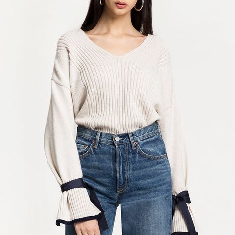 Ribbon-Sleeve Cuff-Tie Sweater